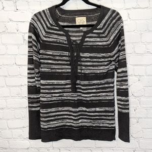 Chaser Linen Lace Up Raglan Sweater Shirt Small